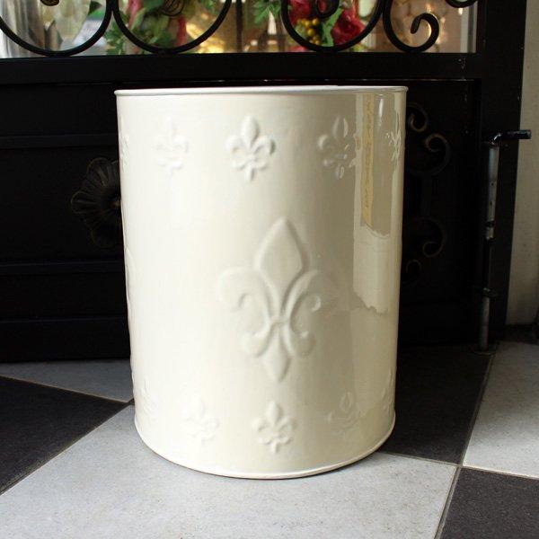 【即納可!】【Q&Q-スペイン】ダストボックス「百合の紋章」(φ25×H32cm)アンティークホワイト