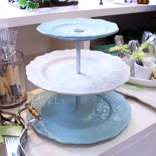【即納可!】イタリア製【La Ceramica ラ・セラミカ】ブルーレースケーキスタンド3段(H25cm)