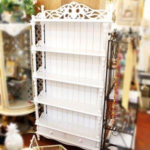 <白家具>ディスプレイラック収納引出付き・ホワイト(W88×H174cm)