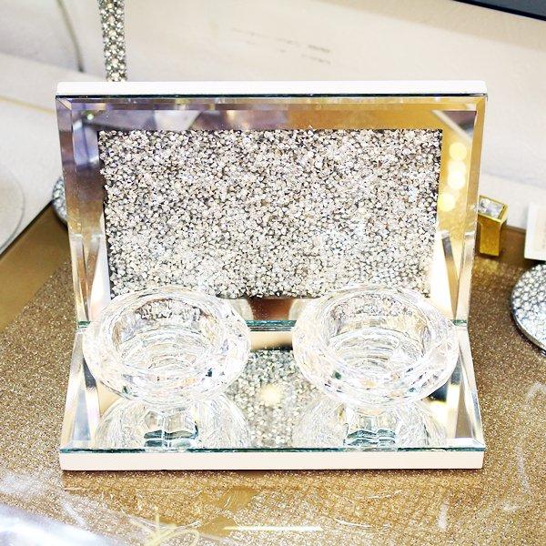 【完売】【フランス-Aulica-】キラキラ☆ガラスキャンドルホルダー(H16×W12×D8cm)