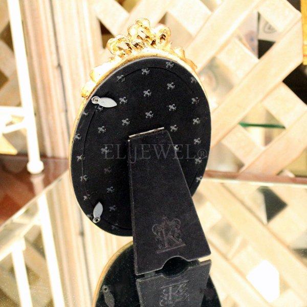 【即納可!】アンティーク調オーバルフォトフレーム・リボン M(W11.8×H18.8cm)