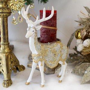 【即納可!】クリスマス♪ホワイトゴールドトナカイオーナメント(H20cm)