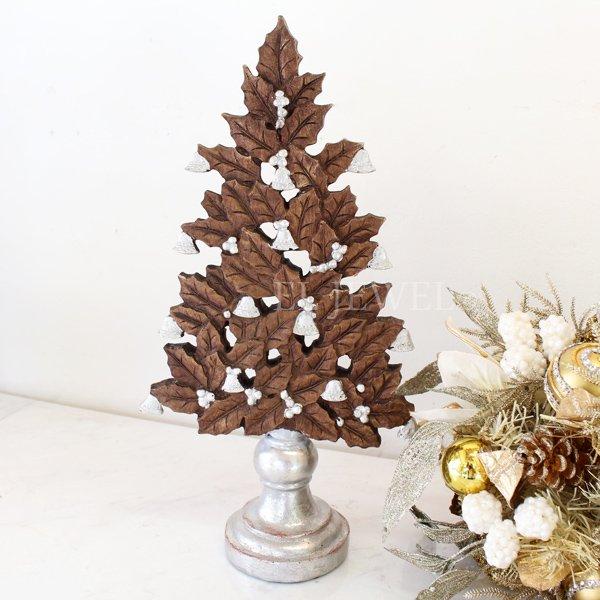 【即納可!】クリスマス♪ウッディホーリーツリーオブジェ(H40cm)