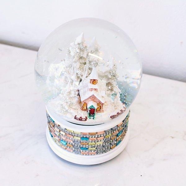 【即納可!】クリスマス♪スノードームオルゴール/チャーチジュエルパステル(H14cm)