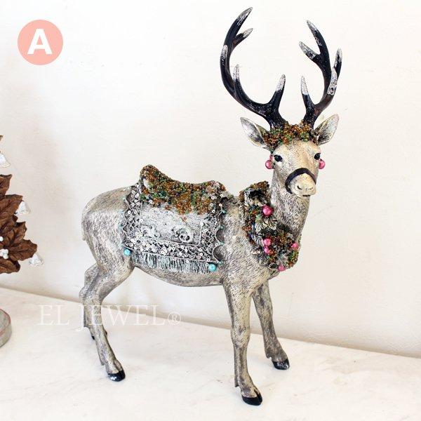 【即納可!】クリスマス♪シルバートナカイオブジェ(AorB)