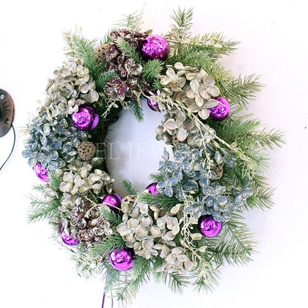 【即納可!】クリスマス♪ライラックアジサイリース36cm