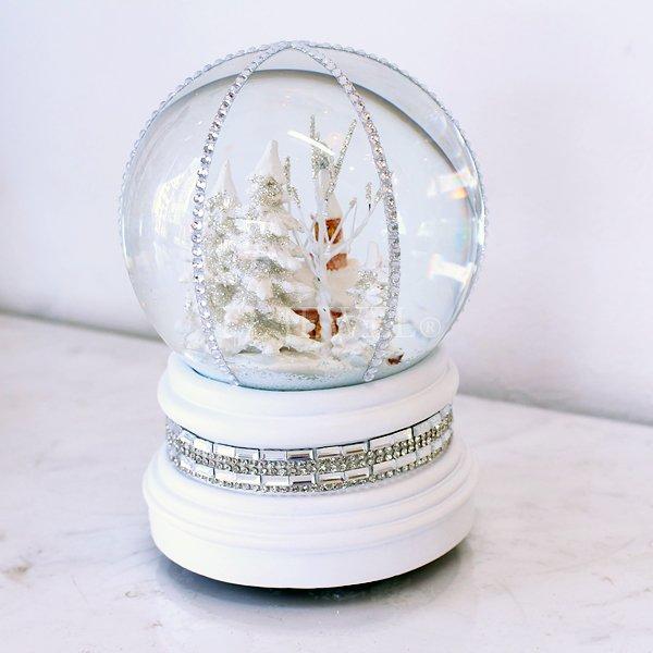 【入荷未定】クリスマス♪スノードームオルゴール・チャーチジュエルホワイト(H15cm)