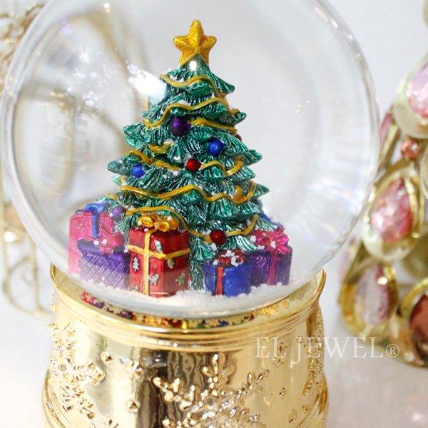 【即納可!】クリスマス♪スノードームオルゴール・グリーンツリー