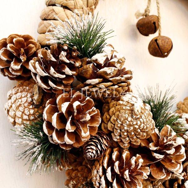 【即納可!】クリスマス♪パインコーンナチュラルリース・M(φ38cm)