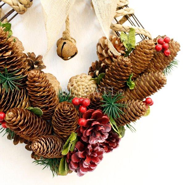 【即納可!】クリスマス♪パインコーン・スクエア型ナチュラルリース(W48cm)