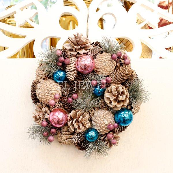 【即納可!】クリスマス♪パインコーンナチュラルリース・S(φ24cm)