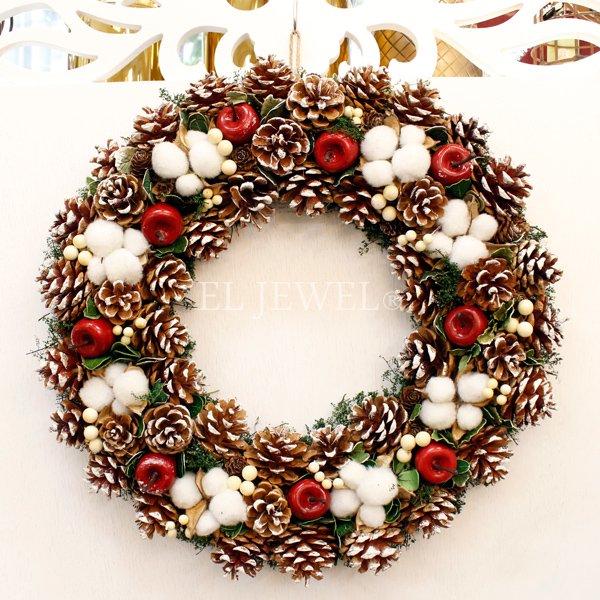 【即納可!】クリスマス♪パインコーンナチュラルリース・L(φ48cm)