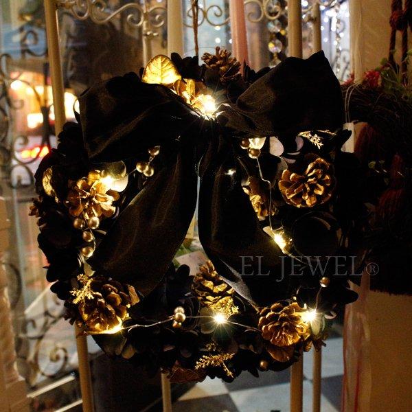 【完売】20%OFF!クリスマス♪LED付・ナチュラルリース・ブラック(φ32cm)