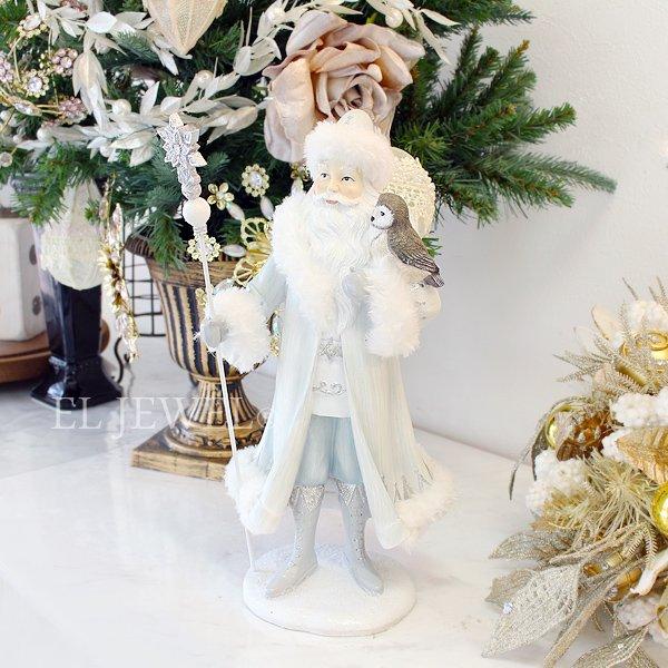【即納可!】クリスマス♪ホワイトサンタオブジェ(H33cm)