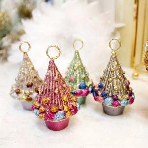 【即納可!】クリスマス☆カードホルダーにもなる♪ミニツリーオーナメント(H8cm)