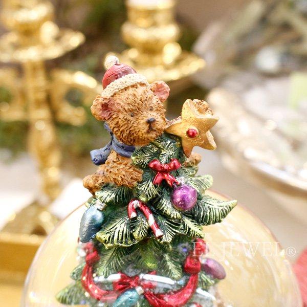【即納可!】クリスマス♪スノードームオルゴール・ベアonツリー(H20cm)