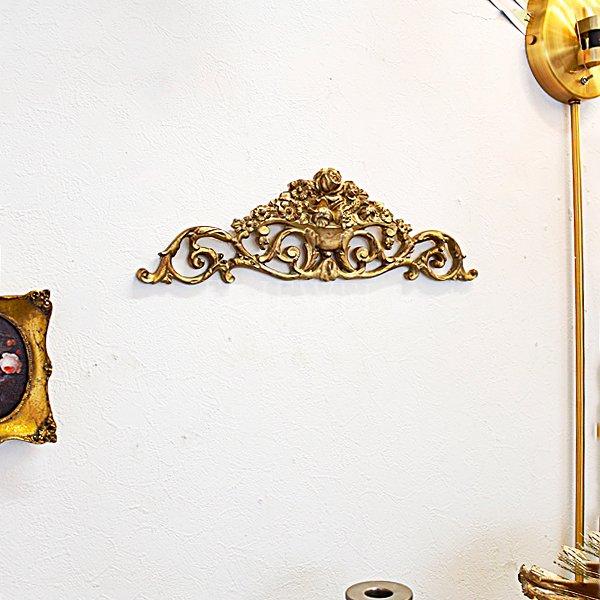 【即納可!】 ロココ調ウォールデコ ゴールド(W34.5×H10×D1.5cm)