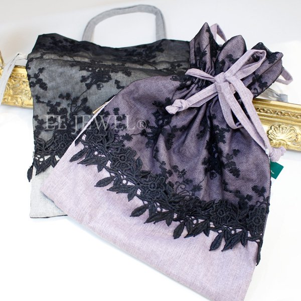 レース飾りの持ち手つき巾着・ロシェル(W25cm)