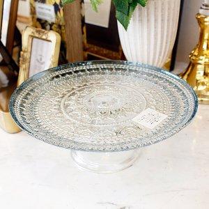 【即納可!】エレガントなおもてなしに♪トルコ製シャビーブルーガラスケーキスタンド(φ21cm)