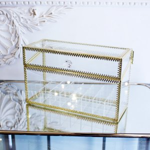 【即納可!】コスメアイテムの収納にも♪ガラスケース(W24.5×H14cm)