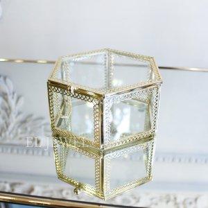 【即納可!】小物入れに♪ガラスケース・六角形(W12.5×H6cm)