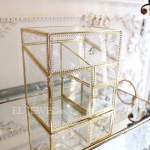 コスメアイテムの収納に♪蓋付きガラスケース(W20×H21.5)