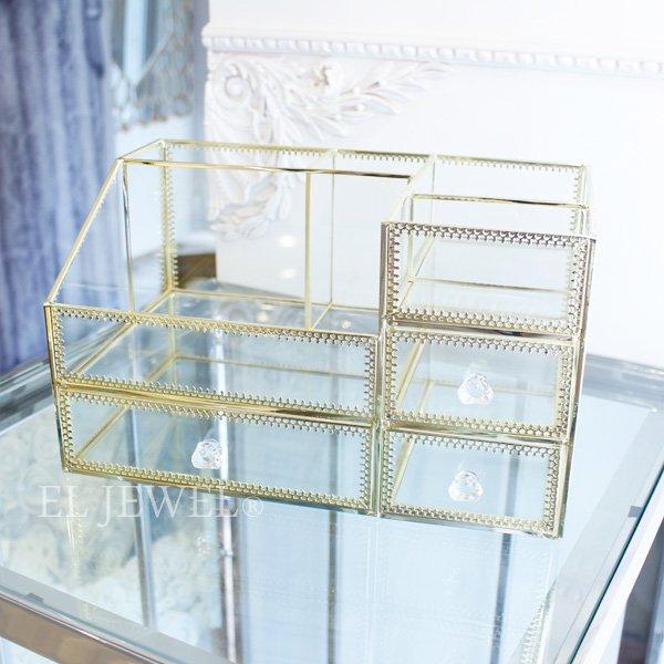 コスメアイテムの収納に♪ガラスケース・マルチボックス