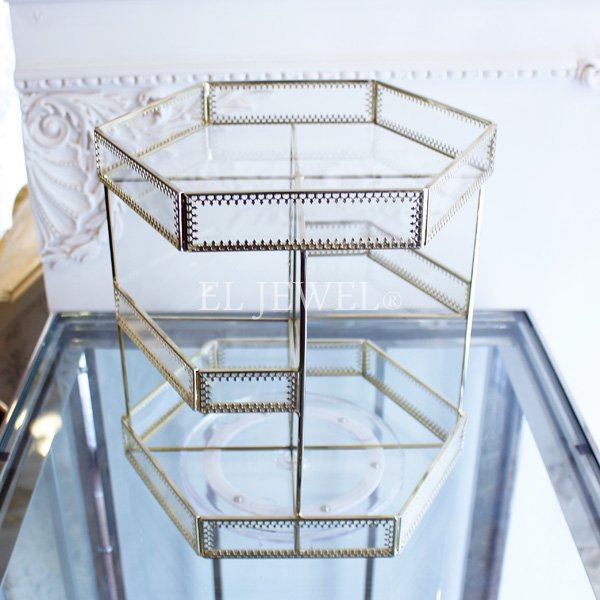 【即納可!】コスメアイテムの収納にも♪回転式ガラスラック・トレー(H28cm)