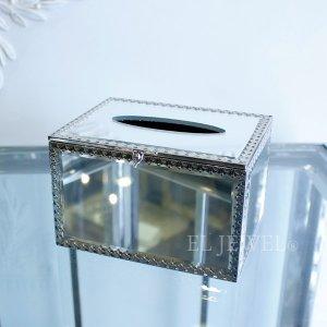 【入荷未定】ミラーガラスティッシュケース・シルバー・S(W16×H10cm)