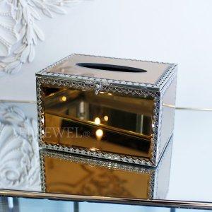 【即納可!】ミラーガラスティッシュケース・アンバーゴールド・S(W16×H10cm)
