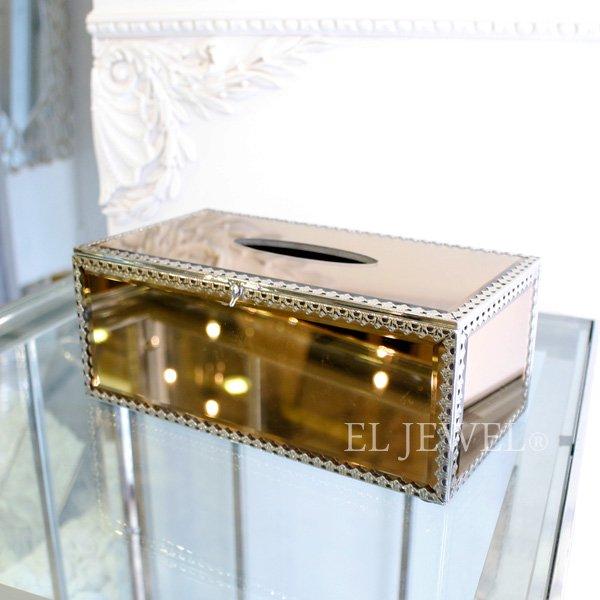 【即納可!】ミラーガラスティッシュケース・アンバーゴールド・L(W26×H10cm)