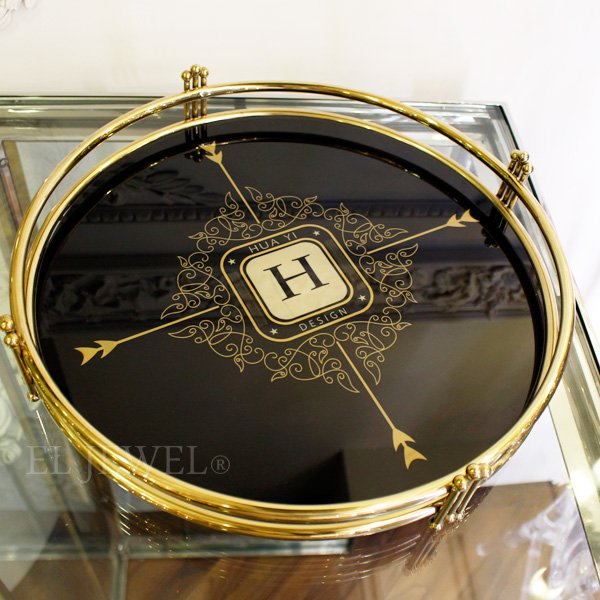 【即納可!】ガラストレー・ゴールド×ブラック(φ37cm)