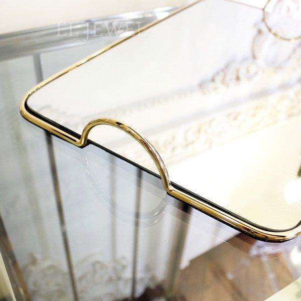 【即納可!】取っ手付きミラートレー・ゴールド・L(45×30cm)