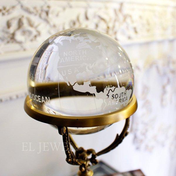 【即納可!】インテリアオブジェ♪クリスタル・地球儀(H33cm)