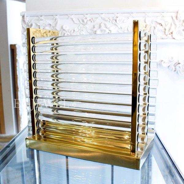ガラス製マガジンラック・ゴールド(H37cm)