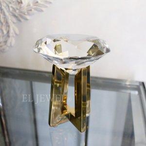 【即納可!】インテリアオブジェ・ダイヤモンド型クリスタルガラス・S(H15cm)
