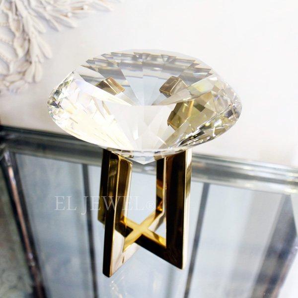【完売】インテリアオブジェ・ダイヤモンド型クリスタルガラス・L(H19.5)