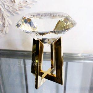 【即納可!】インテリアオブジェ・ダイヤモンド型クリスタルガラス・L(H19.5)