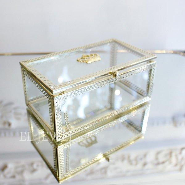 【即納可!】小物入れに♪王冠ガラスケース・長方形(W14×H6cm)