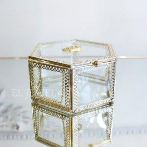 小物入れに♪王冠ガラスケース・六角形(W12.5×H6cm)