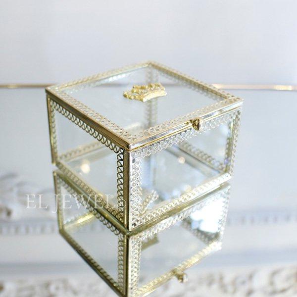 小物入れに♪王冠ガラスケース・正方形(W9×H6cm)