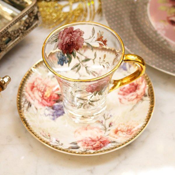 【即納可!】エレガントなおもてなしに♪フラワーピオニーガラスカップ&ソーサー(Φ8×H9.5cm)