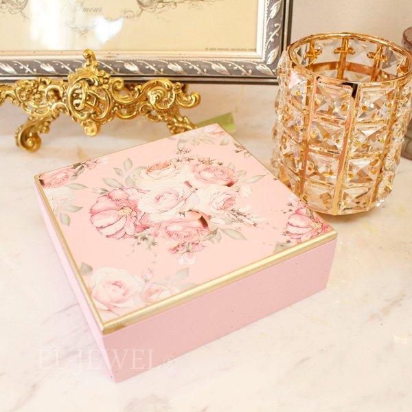 【フランス-Mathilde M.】小物入れBOX・フレンチローズ・ピンク
