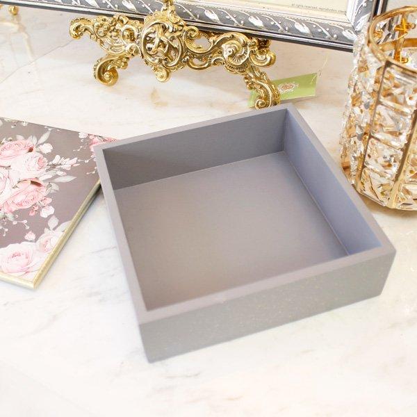 【フランス-Mathilde M.】小物入れBOX・フレンチローズ・グレー