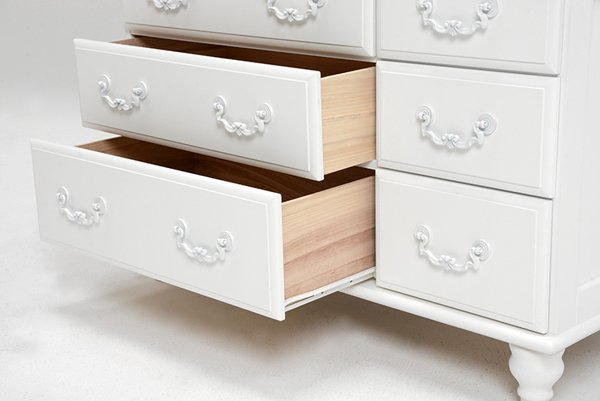 【セール!】フェミニンな白家具♪3段チェスト・ホワイト(W88×D35×H60cm)