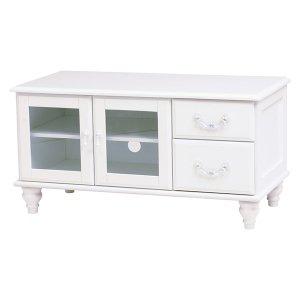 【セール!】フェミニンな白家具♪テレビ台・ホワイト(W88×D40×H45cm)