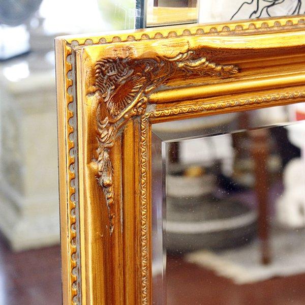【即納可!】ロココ調 アンティークミラー ゴールド (W77x D107xH5cm)