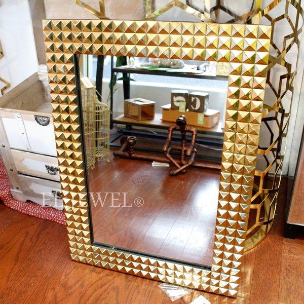 【即納可!】【Richmond Interiors-オランダ】ゴールドスタッズ・ウォールミラー(71×51cm)