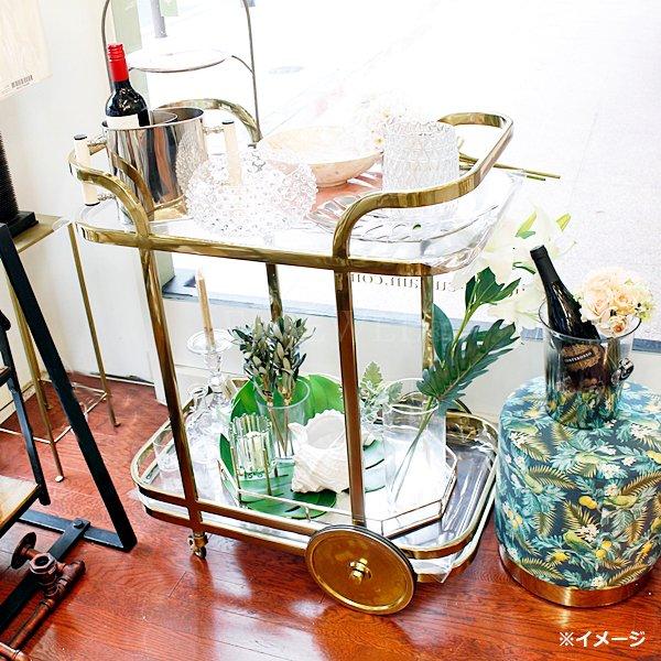 【即納可!】【Richmond Interiors-オランダ】ガラス付トロリーワゴン・ゴールド(H87cm)