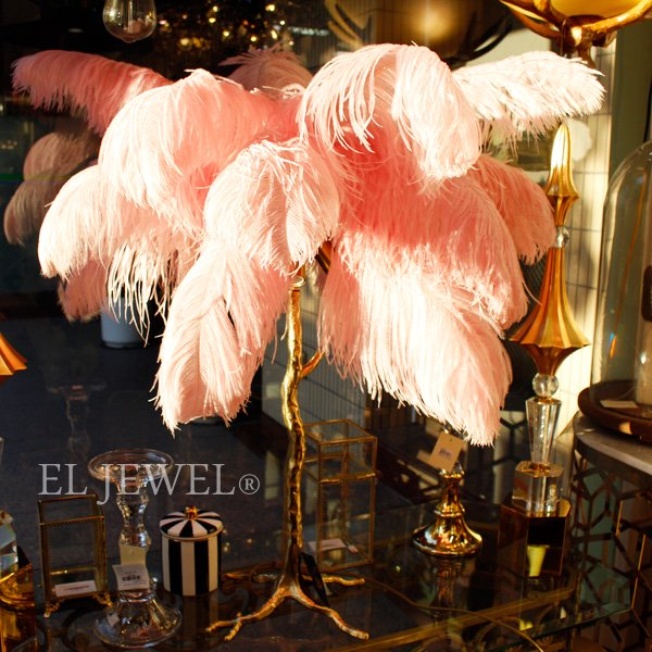 【即納可!1台在庫有】オランダ【Richmond Interiors】 おしゃれなPALM TREEテーブルランプ・ピンク「Upanova」3灯(W750×H800mm)